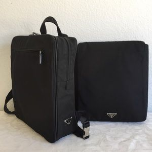Prada nylon back pack and computer case